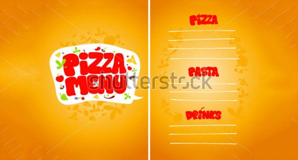 pizza menu card design template