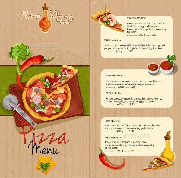 Pizza Menu Templates   Free Psd Eps Documents Download  Free