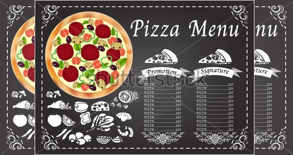 pizza menu on chalkboard template