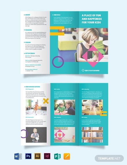 play school tri fold brochure template