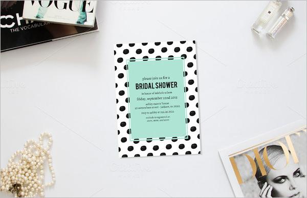 polka wedding shower invitation template