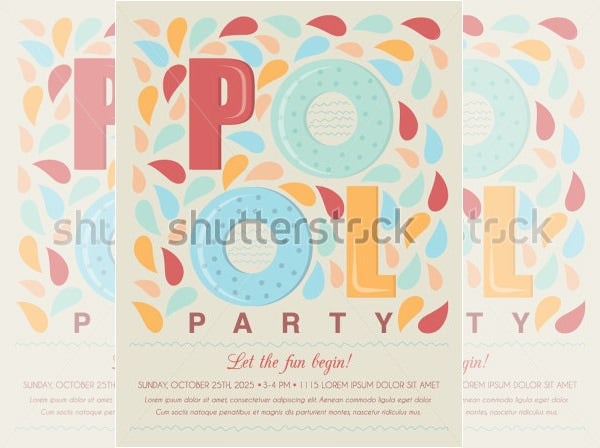 pool party invitation template card