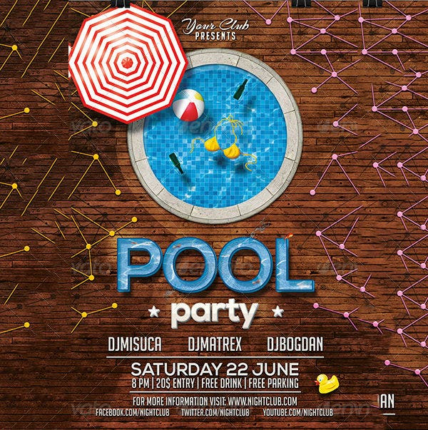 Pool Party Invitation Template Download