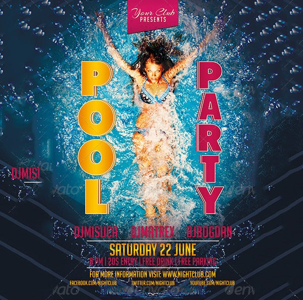 pool party invitation template sample