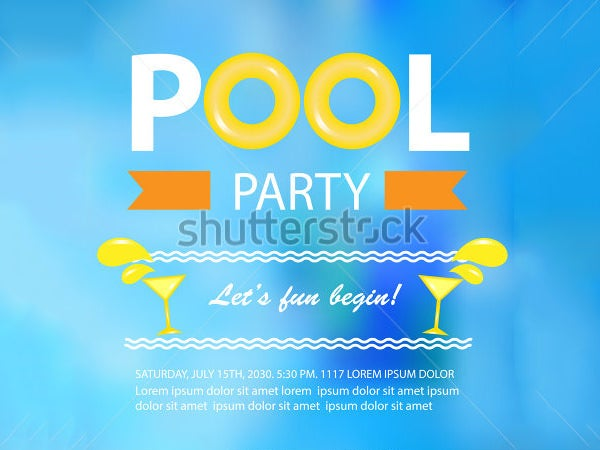 pool party invitation template vector illustration