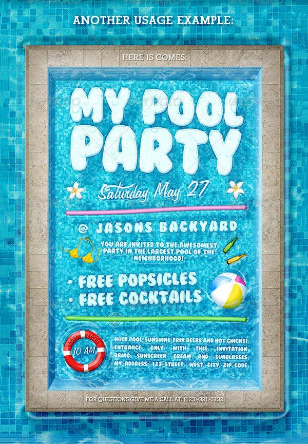 Pool Party Invitation Template Free PSD Format Download - Party invitation template: pool party invitations templates
