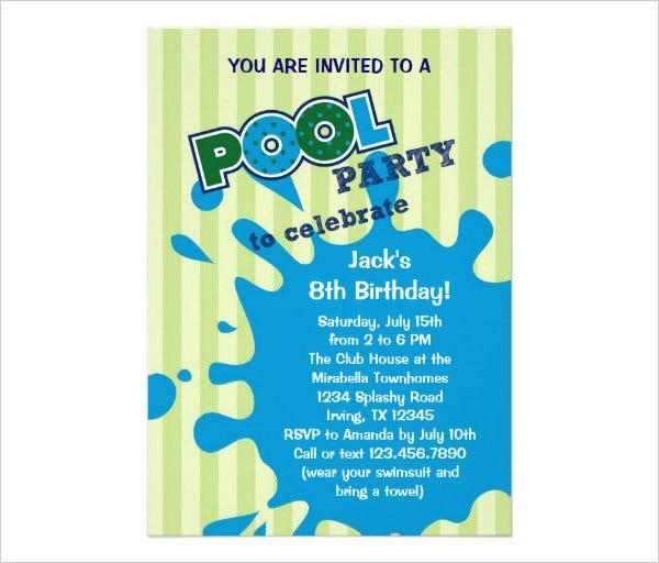pool party summer birthday invitation