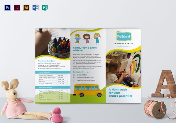 Education Foundation School Tri Fold Brochure Template Design