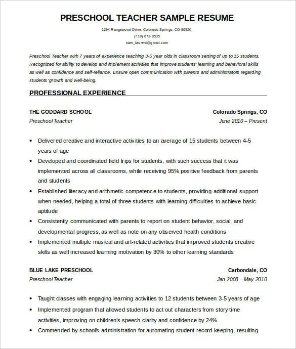 40  teacher resume templates