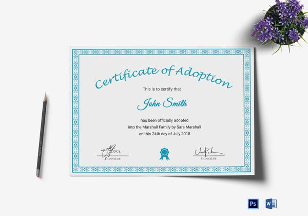 Adoption certificate template 11 free pdf psd format for Adoption certificate template