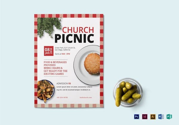 printable church picnic flyer template