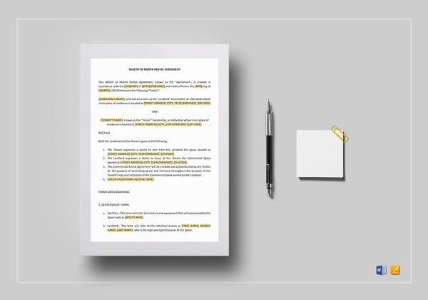 printable month to month rental agreement template
