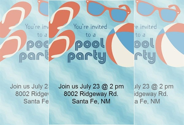 printable pool party invitation download