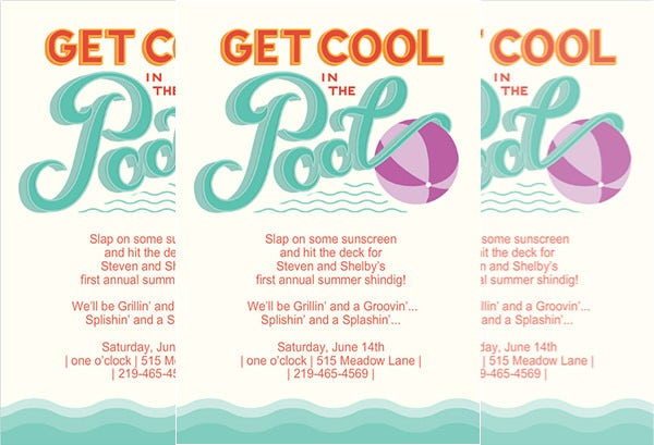 printable pool party invitation template sample