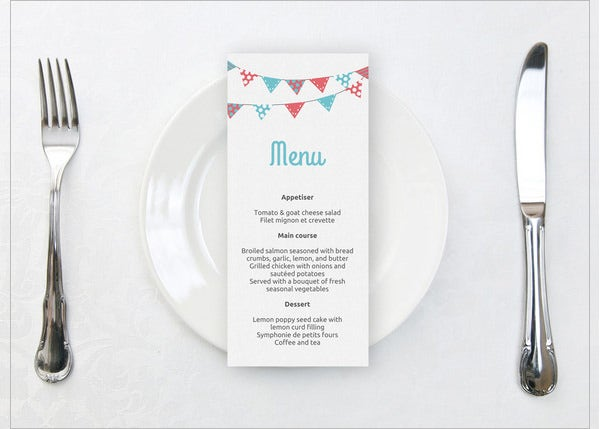 printable wedding bunting dinner menu template