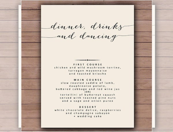 printable wedding dinner menu template