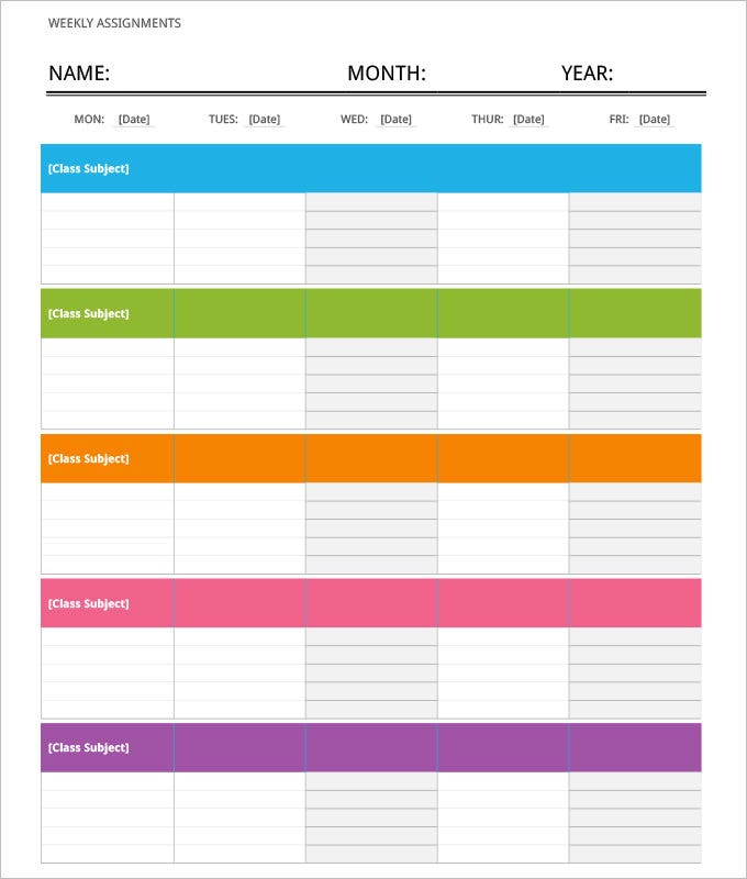 week itinerary template