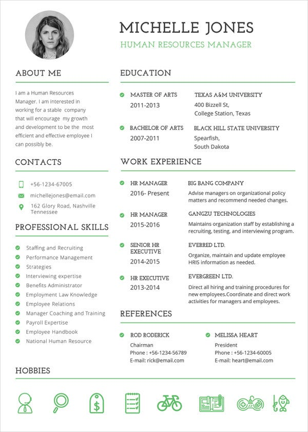 professional hr resume template - Resume With Picture Template
