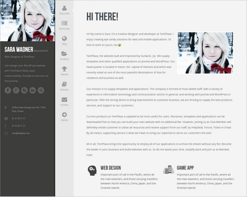 wordpress resume template free download theme forest page responsive - Wordpress Resume Template