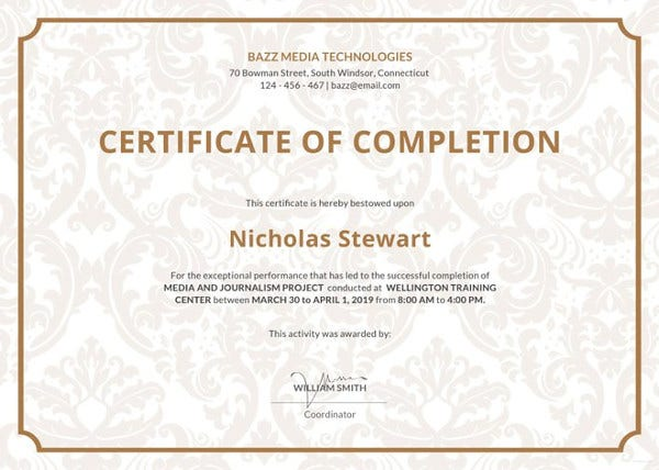 project completion certificate template free download
