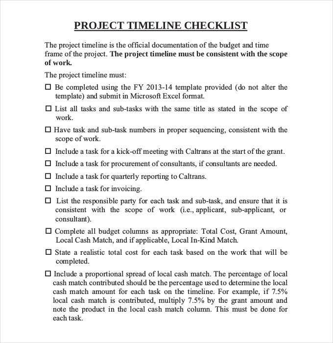 project timeline checklist