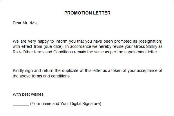 Superior Promotion Letter Template