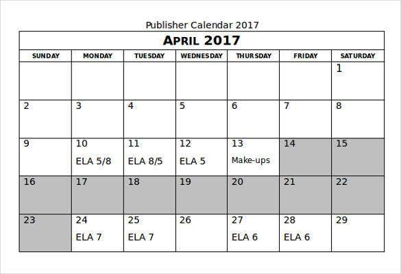 publisher calendar 2017 template in word