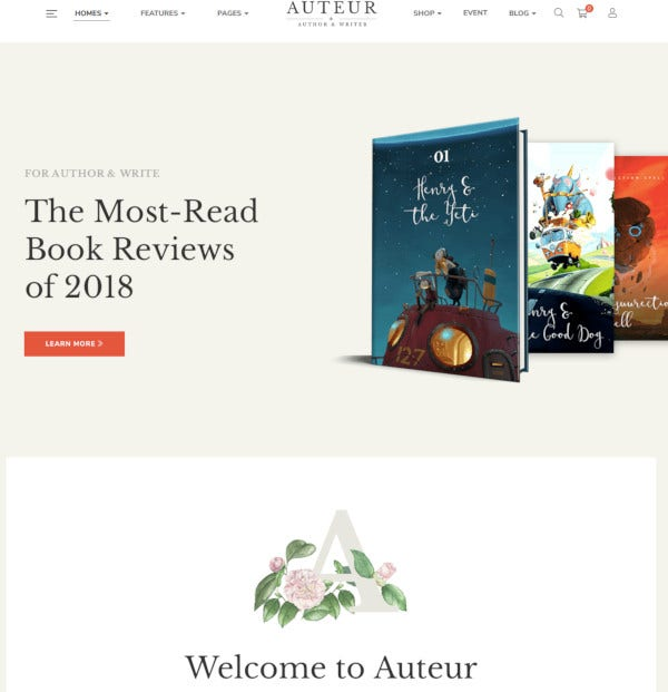publishers author website themes