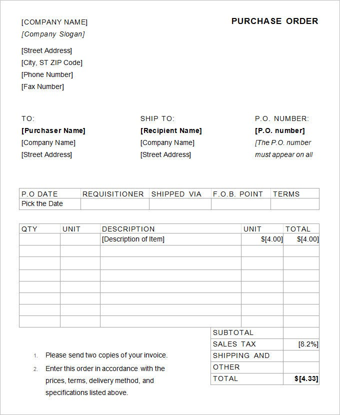 purchase order format sample