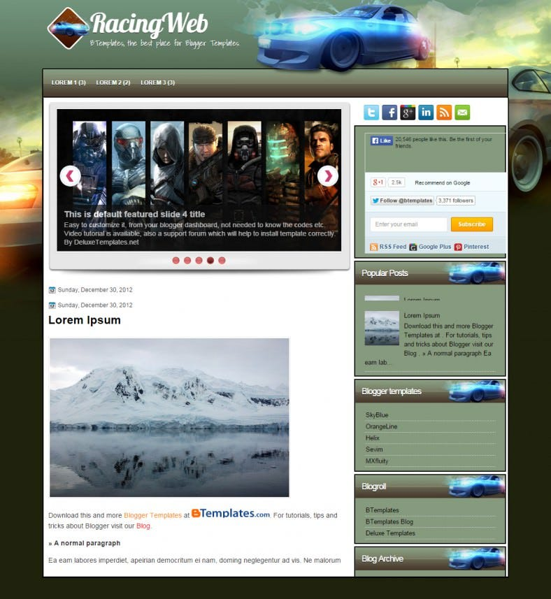 racingweb cars automobile responsive bloggertemplate 788x857