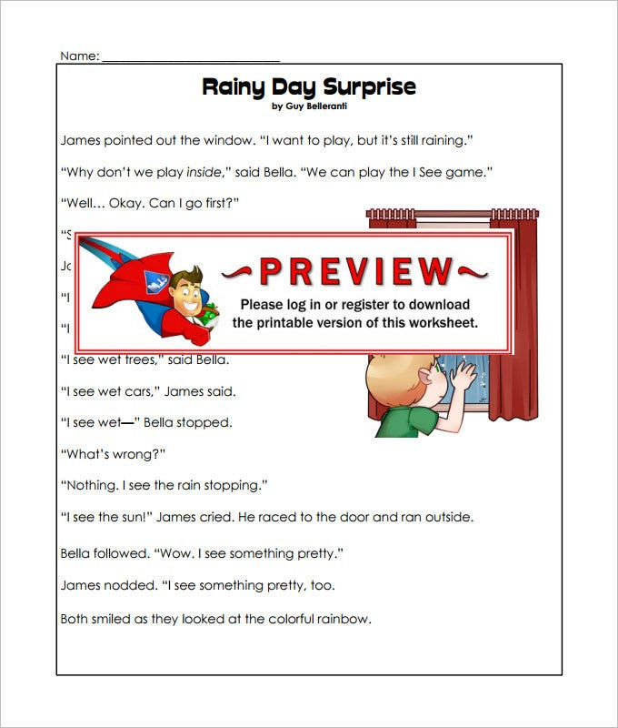 rainy day language art worksheet template