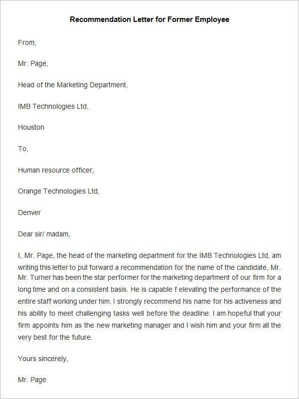 Employee Recommendation Letter Templates  Hr Template  Free