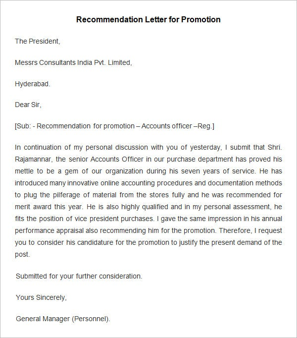 Recommendation Letter Template For Promotion