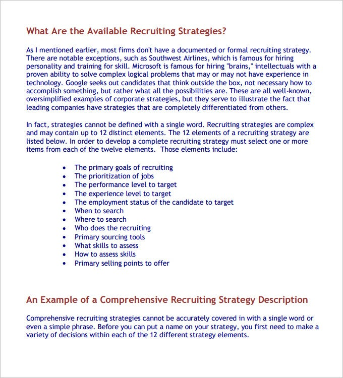 recruiting strategies template