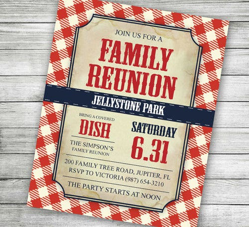 red checkered family reunion invitation template