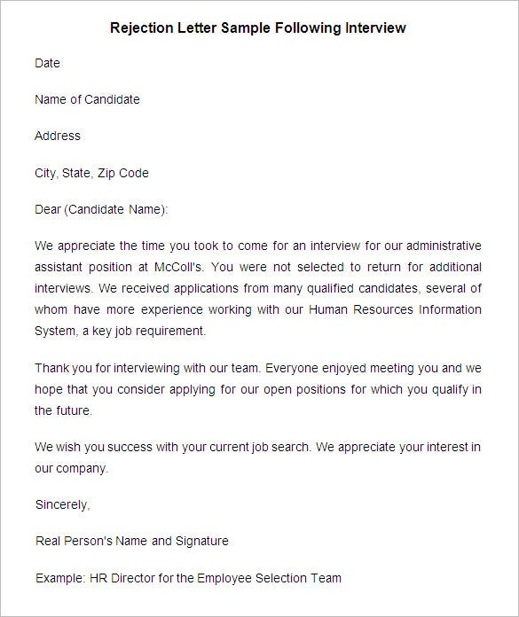 rejection letter sample following interview