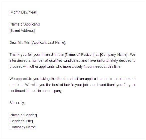 27 rejection letters template hr templates free premium rejection letter template sample spiritdancerdesigns Gallery