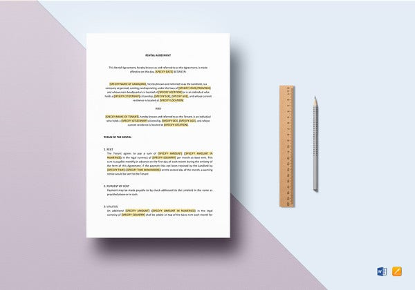 rental agreement template to print
