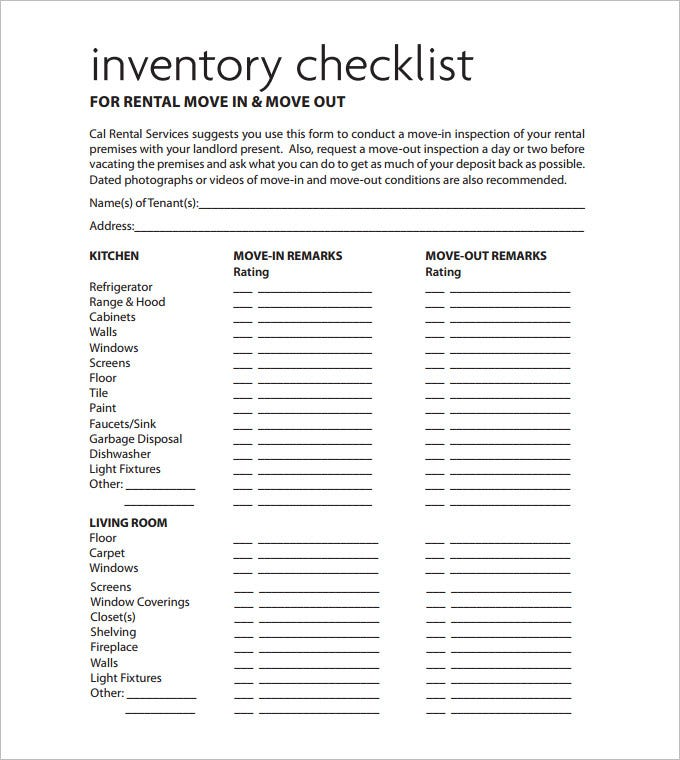 Sample Rental Inventory Template 7 Free Excel PDF Documents – Free Landlord Inventory Template