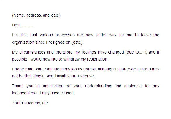 18 notice period letter templates free sample example format writing a resignation withdrawal letter well then you have found the perfect template it conveys your message in very simple and exact terms and thus spiritdancerdesigns
