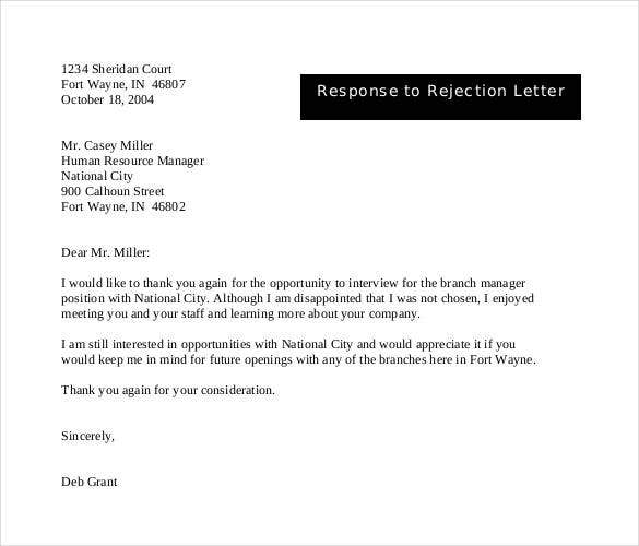 27 rejection letters template hr templates free premium response to rejection letter spiritdancerdesigns Gallery