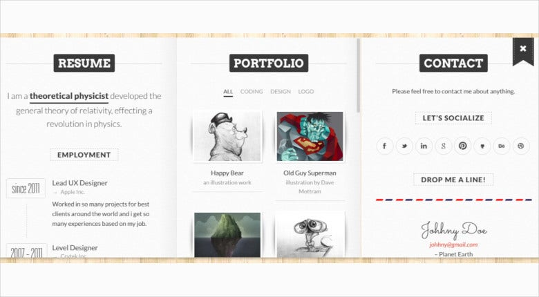 responsive 3d folded vcard wordpress theme
