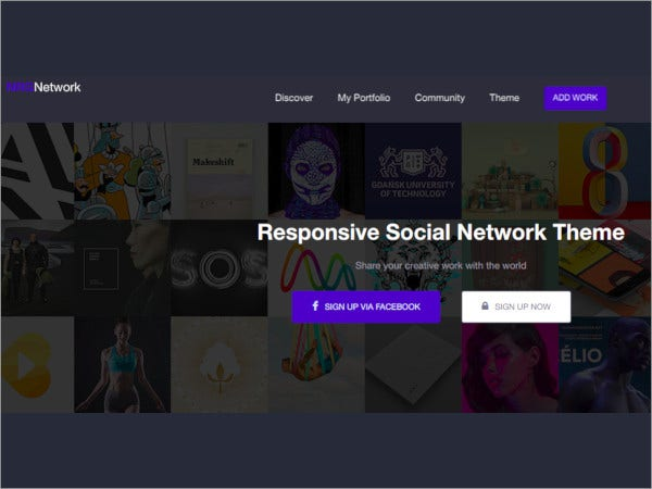 responsive social network wordpress theme