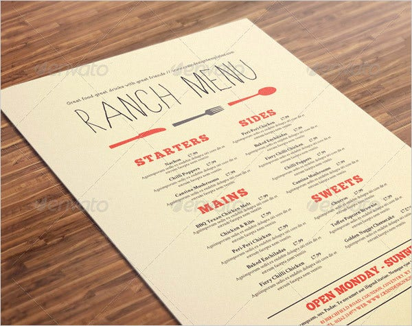 restaurant menu card template download