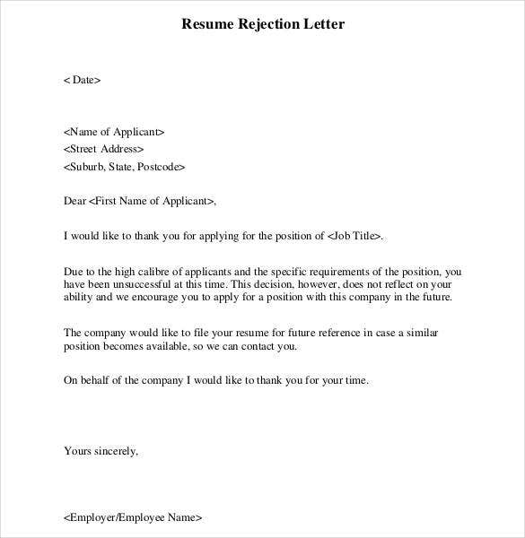 Resume Cv Rejection Letter Format