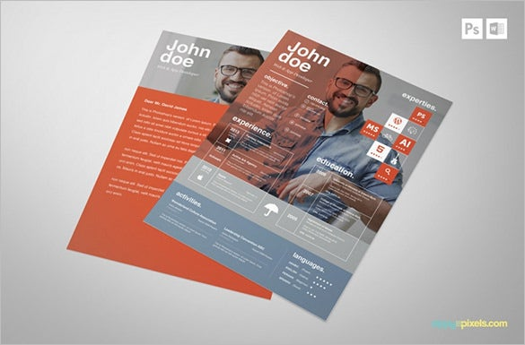 resume cover creative psd template