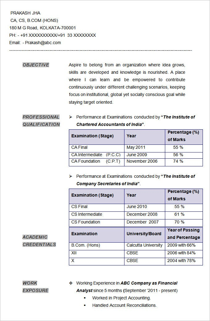 resume format for freshers accountant - Sample Resume Of Chartered Accountantindia