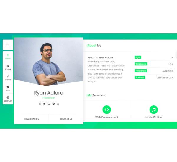 resume vcard wordpress theme