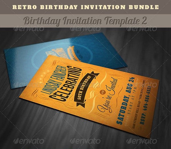 retro birthday party invitations bundle