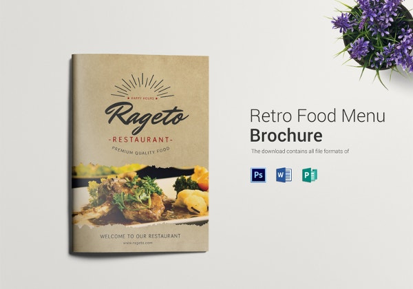 retro food menu bifold template